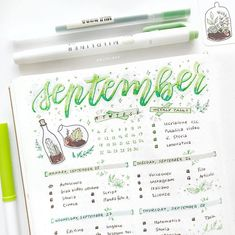 """5,590 Likes, 38 Comments - Yu  Bullet Journal, Studygram (@bluelahe) on Instagram: """"Happy Sunday!  For this week I did a green spread, it's not one of my favourite colours but I love…"""""""