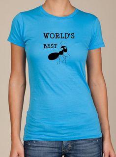 Aunt Worlds Best ANT funny screenprint ladies t shirt Pregnancy announcement shower gift. $18.00, via Etsy.
