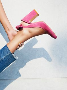 The perfect pink suede heel
