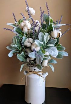 Farmhouse decor Lambs ear arrangement Cotton stem arrangement Lavender arrangement Rustic decor - March 02 2019 at Unique Home Decor, Vintage Home Decor, Diy Home Decor, Winter Home Decor, Country Farmhouse Decor, Rustic Decor, Rustic Style, Modern Farmhouse, Farmhouse Style