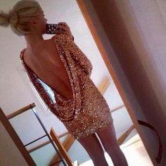 Backless palliet kjole - Guld