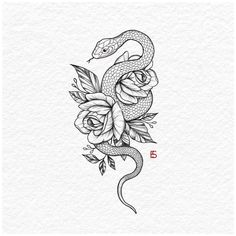 Snake And Flowers Tattoo, Flower Tattoo Drawings, Tattoo Design Drawings, Flower Tattoo Designs, Tattoo Sketches, Small Snake Tattoo, Floral Tattoo Design, Butterfly Tattoos, Watercolor Tattoos