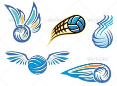 Buy Volleyball Symbols and Emblems by VectorTradition on GraphicRiver. Volleyball symbols and emblems for sport design. Editable and JPEG (can edit in any vector and graphic editor) f. Volleyball Tattoos, Volleyball Team, Soccer, Team Logo Design, Logo Design Template, Sport Design, Haikyuu, Volleyball Designs, Championship Football