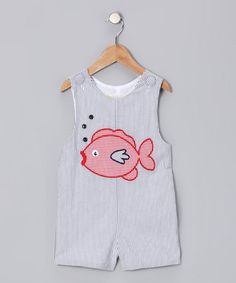 Take a look at this Gray & Red Fish Smocked John Johns - Infant & Toddler  by Secret Wishes on #zulily today!