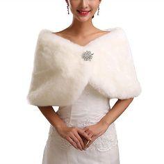 814d8124415 Faux Fur Warm Wrap Cape Shawl Stole Scarf Bridesmaid Wedding New