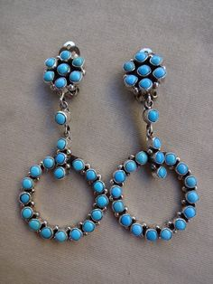Signed NAVAJO Sterling Silver & TURQUOISE Petit Point Dangle EARRINGS, D. Ashley by TurquoiseKachina on Etsy https://www.etsy.com/listing/231247078/signed-navajo-sterling-silver-turquoise