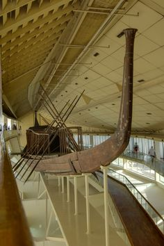 The Khufu ship is one of the oldest, largest, and best-preserved vessels from antiquity.  It was sealed into a pit in the Giza pyramid complex at the foot of the Great Pyramid of Giza around 2500 BC.