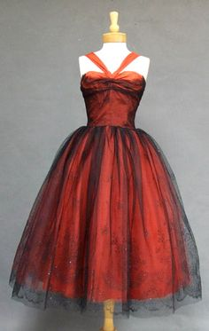 Black and Red Flocked Tulle 1950's Cocktail Dress