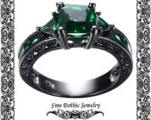 Gothic Engagement Ring | Black Engagement Ring | Emerald Green Geometric Black Gold Filed ring $90 NZD
