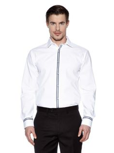 Mens VB Dress Shirt, Slim-Fit, White with Blue Striped Contrasting Trim: Clothes