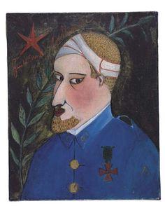 """Portrait à l'huile d'Apollinaire par Irène Lagut. Huile sur toile (410 x 330 mm). Datée au dos sur la toile, en rouge : """" nov. 1916 """"."""
