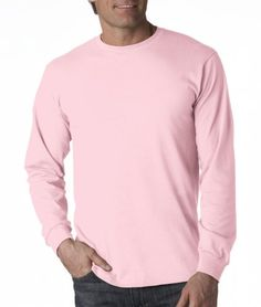 Adult Heavy Cotton HD Long-Sleeve T-Shirt (Classic Pink)
