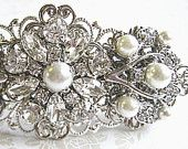Wedding Hair- Pearl Accessory- Bridal Barrette, Vintage Style. $39.50, via Etsy.