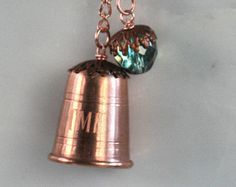 Thimble and Acorn Kisses Necklace Peter Pan and Wendy in Solid Copper