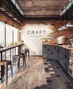 58 Ideas Industrial Lighting Cafe Restaurant Design For 2019 Minimalist Kitchen, Minimalist Bedroom, Minimalist Decor, Minimalist Design, Minimalist Window, Minimalist Living, Cafe Shop, Cafe Bar, Cafe Bistro