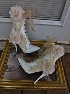Victorian Wedding Boots Beige Roses Lace White Leather Lace Up Ankle Boots via Etsy.