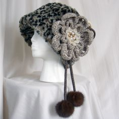 Large Crochet Flower Brooch Pin with Recycled Mink by kazuewest, $25.00