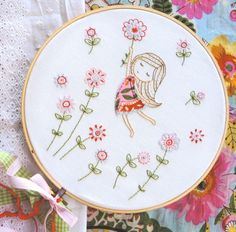 Girl in a Red Dress Pattern by Tamar Nahir Yanai So sweet and so delightfully stitched - this Girl in a Red Dress PDF pattern on Etsy by Tamar Nahir Yanai is a perfect summer project for lazy days.