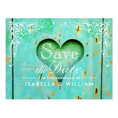 Rustic Wood Heart Save the Date Postcard - lace wedding ideas marriage diy cyo customize special