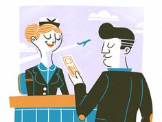 Some character illustrations we've been working on about international travel.