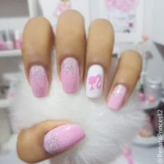 barbie beauty and nail art image<br> Barbie Pink Nails, Pink Gel Nails, Aycrlic Nails, Best Acrylic Nails, Cute Nails, Pretty Nails, Silhouette Nails, Ivana, Sparkle Nails