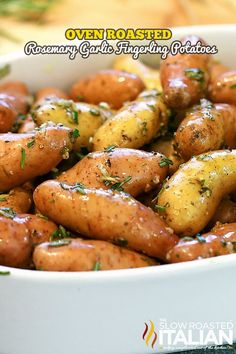 Oven Roasted Rosemary Garlic Fingerling Potatoes #simple #potatoes #sides CLICK FOR RECIPE --> http://www.theslowroasteditalian.com/2014/05/oven-roasted-rosemary-garlic-fingerling-potatoes-recipe.html