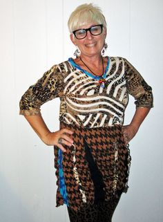 Upcycled animal print cotton tunic fits sizes small by monapaints, $169.00 (I own LOTS of MONA! up-cycled clothing & get compliments EVERY time! ~cv)