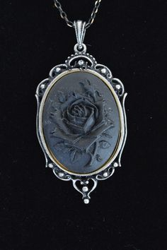 Items similar to Mothers Day SALE Rose Cameo Necklace, in Black with Fancy Setting, by Debbie Renee on Etsy Cameo Jewelry, Cameo Necklace, Jewelry Box, Jewlery, Jewelry Accessories, Jewelry Design, Jewelry Making, Victorian Jewelry, Gothic Jewelry