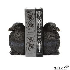 Raven BookendsChannel your inner Edgar Allen Poe with this pair of raven bookends. Regarded by scientists as one of the most intelligent animals on the planet these birds are the perfect choice to contain your book collection. They are made of resin which allows for incredible detail and rendering.