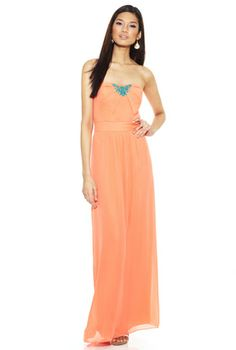 M60 MISS SIXTY Coral Embellished Maxi Dress...perfect for a beach wedding