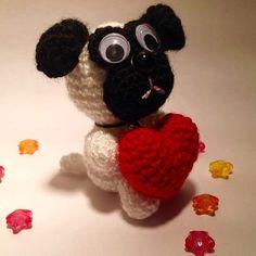 VALENTINES SALE, Tiny Dog, Crochet pug,  Amigurumi, Dog Crochet, Valentine's Day Heart Crochet, Kawaii,  Happy Valentine's Day,  Gift Ideas