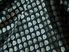Pure Silk Brocade Fabric in Black and Gold - Gold Banaras Silk Fabric Remnant - Dress Material for Weddings by yard