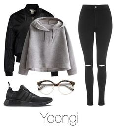 """""""Coffee with Yoongi"""" by infires-jhope ❤ liked on Polyvore featuring Sans Souci, WithChic, Topshop and adidas"""