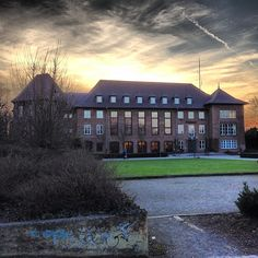 Sunset at townhall Dinslaken, Germany