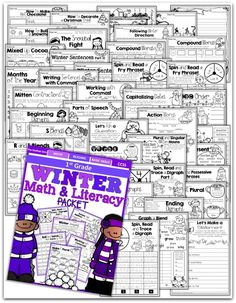 Teach addition, subtraction, sight words, phonics, grammar, handwriting and so much more with the Winter NO PREP Packet for First Grade!