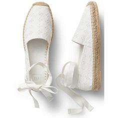 Eyelet lace-up espadrilles | Gap ❤ liked on Polyvore featuring shoes, sandals, zapatos, flats, espadrilles, flats sandals, flat pump shoes, flat heel sandals, flat shoes and espadrille shoes