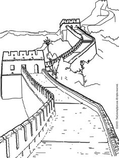 China:  Great Wall of China coloring page