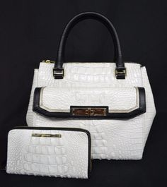 Set of Brahmin Malia Satchel in Sugar Tri-Texture + Suri Wallet. White & Black #Brahmin #SatchelShoulderbag