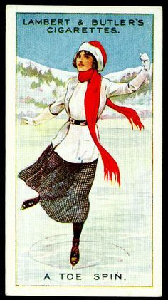 "Cigarette Card - 'Ice Skating, A Toe Spin' - Lambert Butler's Cigarettes ""Winter Sports"" (set of 25 issued in Vintage Labels, Vintage Ephemera, Vintage Cards, Vintage Postcards, Vintage Images, Vintage Artwork, Vintage Christmas Cards, Christmas Art, Christmas Images"