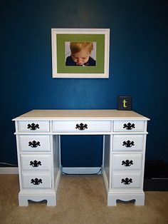 Desk refinished white!--- this is totally what my desk would look like if I painted it white