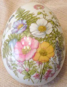 Porcelain Decorative Egg Fern San Francisco Floral Trinket Box Large