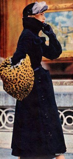Vintage Christian Dior 1940s black coat