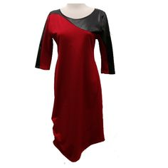 Surge Dress - KNEE LENGTH WITH ASYMMETRICAL FAUX LEATHER YOKE FRONT & BACK WITH 3 BOTTOM PLEATS by AVENIR DESIGNS