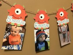 This listing is for the above 1 Month - 12 Month Monster Photo Banner Kit. Little Monster Birthday, Monster 1st Birthdays, Twins 1st Birthdays, Monster Birthday Parties, Birthday Themes For Boys, Baby First Birthday, First Birthday Parties, Birthday Party Themes, Birthday Ideas