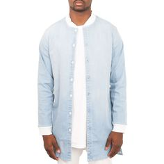Elwood The Long Bomber Jacket in Light Blue Wash ($45) ❤ liked on Polyvore featuring men's fashion, men's clothing, men's outerwear, men's jackets and light blue