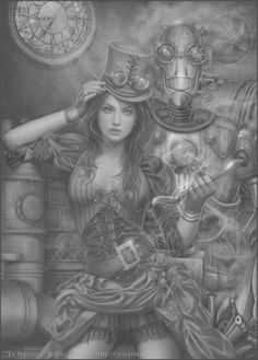 """riverstoneproductions: """" There are a lot of lovely little details in this steampunk piece by artist Cris Ortega. """"Ex Machina"""" by Cris Ortega, via DeviantArt """" Moda Steampunk, Chat Steampunk, Steampunk Kunst, Steampunk Artwork, Style Steampunk, Steampunk Fashion, Steampunk Mechanic, Steampunk Book, Steampunk Clothing"""