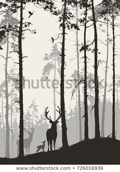 Silhouette Pine Forest Family Deer Birds Stock-Vektorgrafik (Lizenzfrei) 726016939 : silhouette of a pine forest with a family of deer and birds, brown colors, vector illustration Forest Drawing, Forest Painting, Forest Art, Pine Forest, Dark Forest, Forest Mural, Magical Forest, Hirsch Silhouette, Forest Silhouette