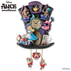 "Fully sculpted cuckoo clock features beloved characters from ""Alice in Wonderland"". Lights up, glow-in-the-dark details! Mouse in a Teapot cuckoo."