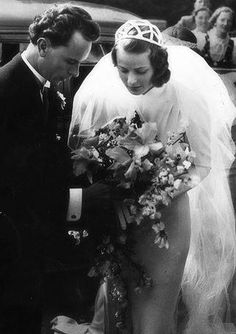 Ingrid Bergman with her first husband, Dr. Petter Lindström, at their wedding in 1937.