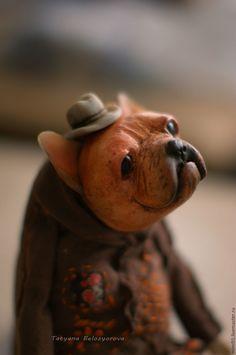 Купить Мистер Пин - комбинированный, французский бульдог, собака, щенок, бохо, Будуарная кукла, Ладолл